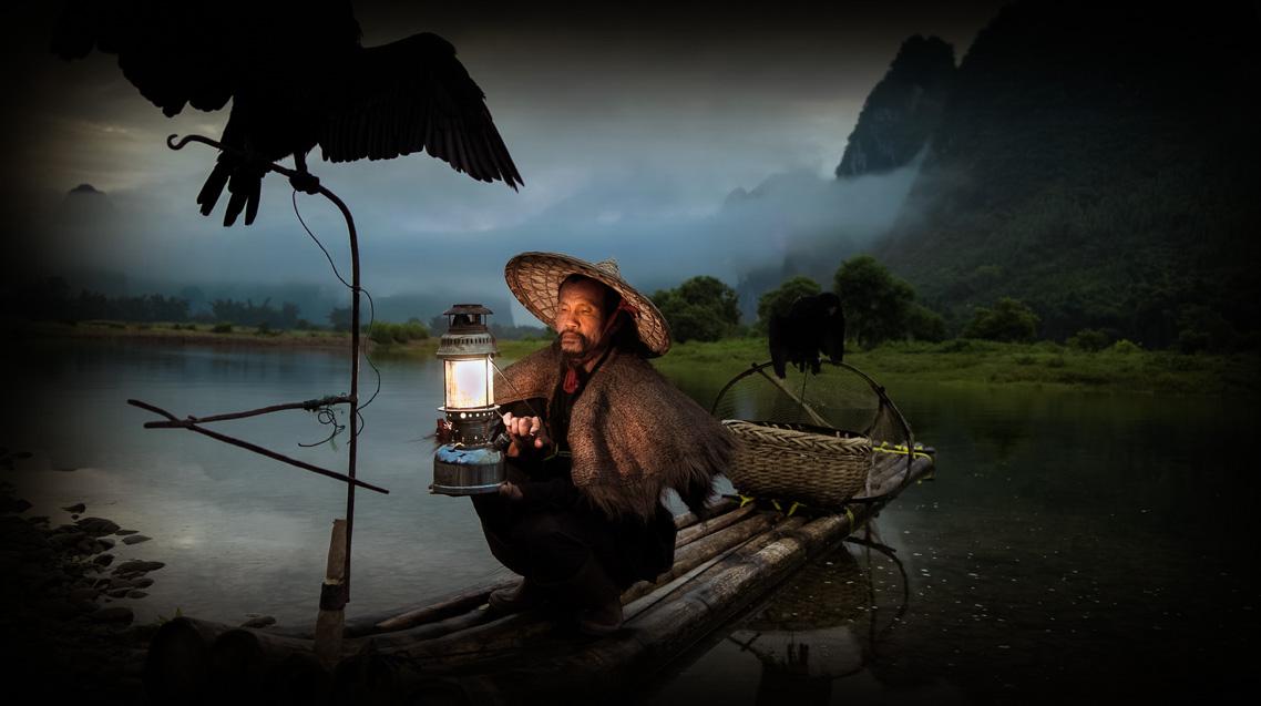En el río pescando en China